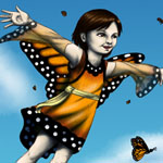 Adora Levin flying with monarch butterflies. (http://adoralevin.com/)