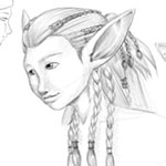 Male and female example of humans and elves for a RPG game.
