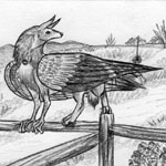 Auric Starstryder (http://www.furaffinity.net/user/canisaureus) in gryphon form and perching on a fence.